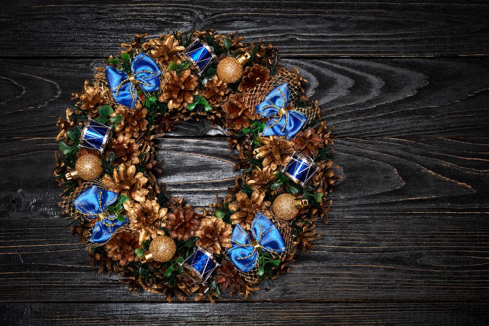 Christmas wreath on dark