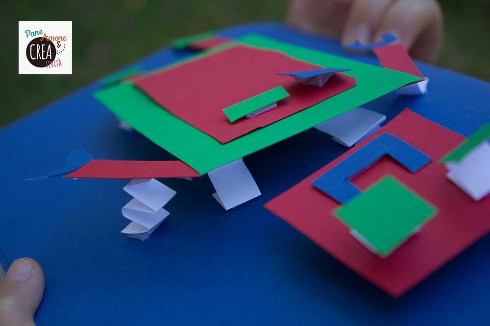 robot di carta fatto dai bambini
