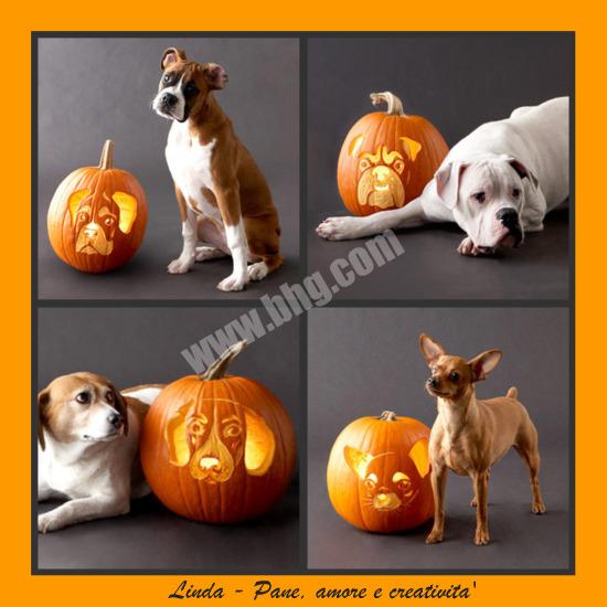 Stencil di cani per decorare la zucca di Halloween