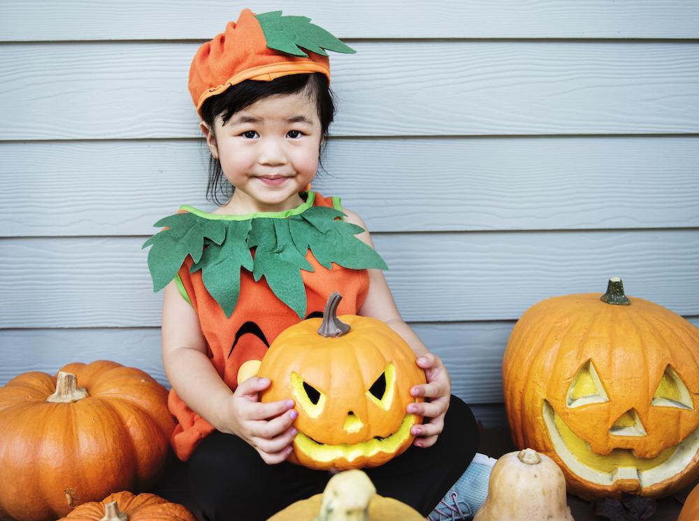 costume da zucca di halloween per bambina