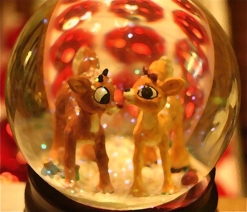 palla di neve con cerbiatti