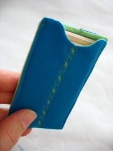 portabiglietti di stoffa azzurro