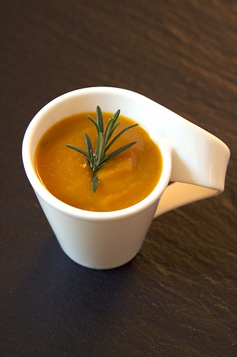 zuppa di zucca e porcini