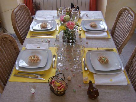 tavola di pasqua con nidi