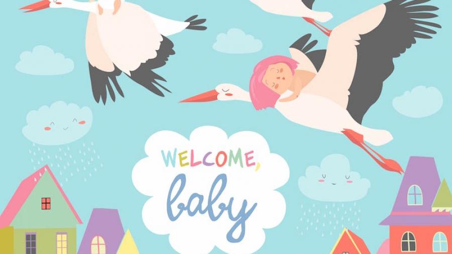 cartamodello cicogna fai da te per fiocco nascita