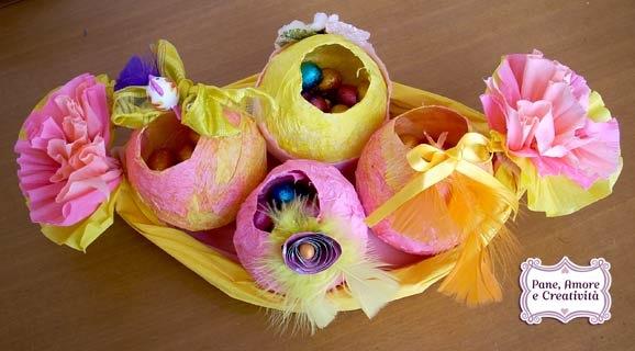 pasqua fai da te: il cestino e le uova di carta crespa - pane ... - Uova Di Pasqua Fai Da Te Carta