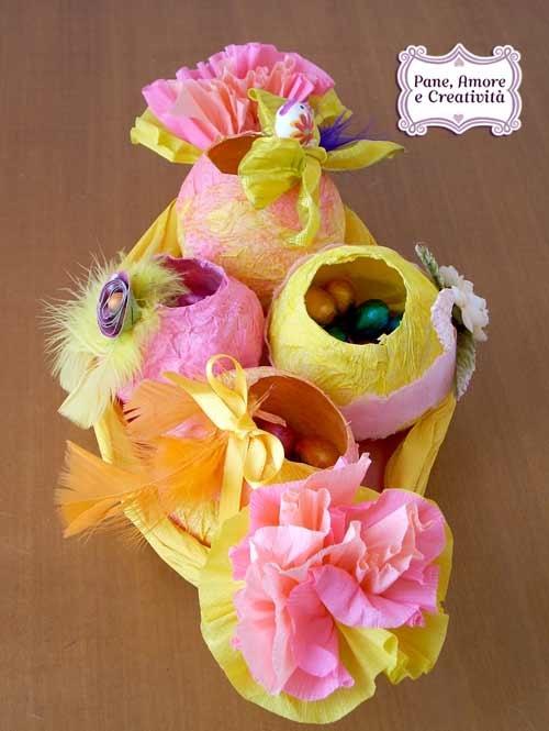 Pasqua fai da te il cestino e le uova di carta crespa pane amore e creativit - Carta crespa decorazioni ...