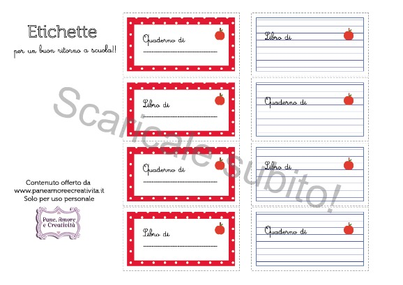Etichette Per Regali Di Natale Da Stampare.Scuola Etichette Per Libri E Quaderni Da Stampare Pane Amore E