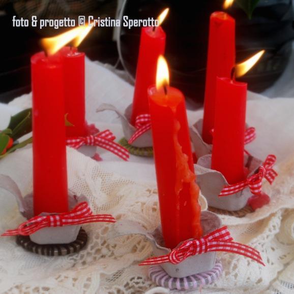 Segnaposti per la tavola di Natale con i cartoni portauova