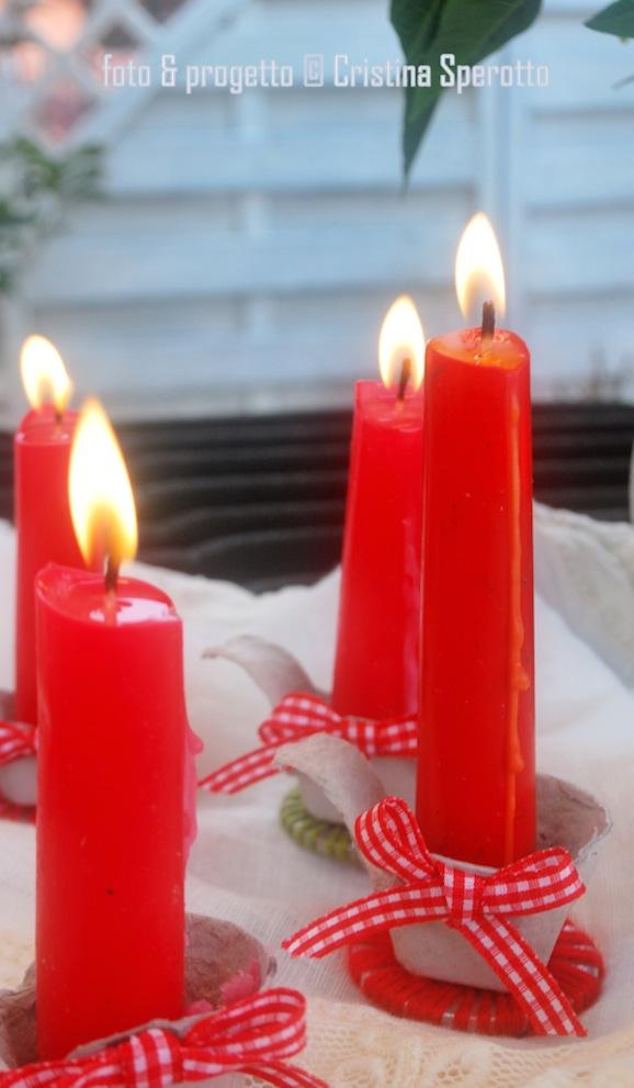 Segnaposti per la tavola di natale con i cartoni portauova - Decorare candele per natale ...