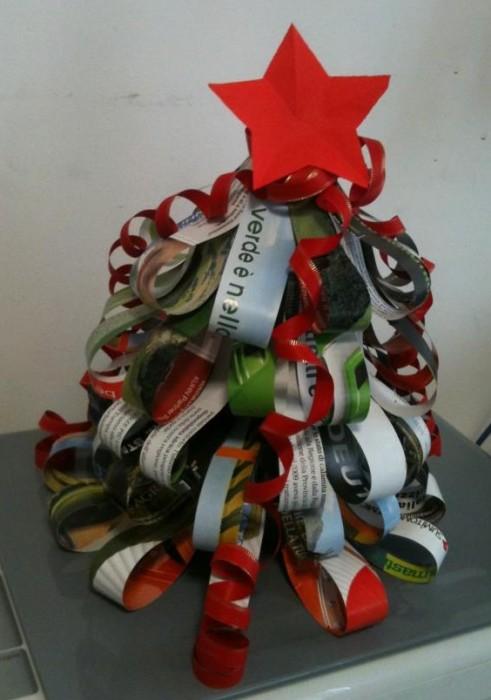 Decorazioni di natale l 39 albero di carta riciclata pane - Decorazioni di carta per albero di natale ...