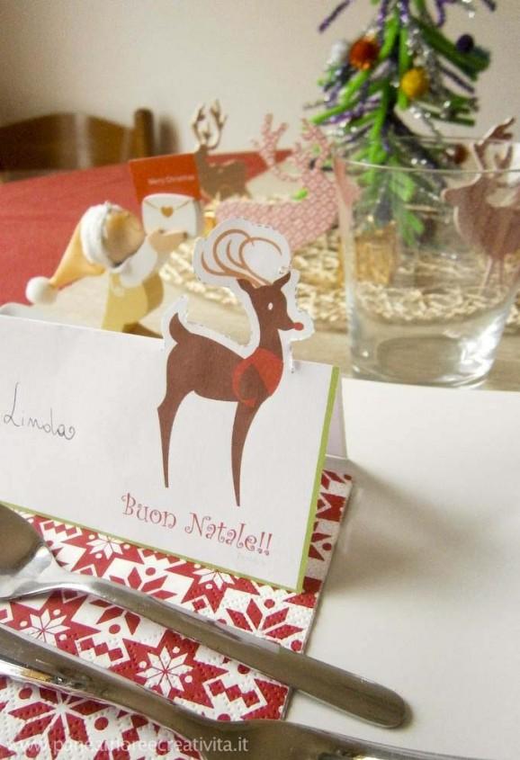 Tavola di natale segnaposti con la renna da stampare for Dove posso trovare i progetti per la mia casa