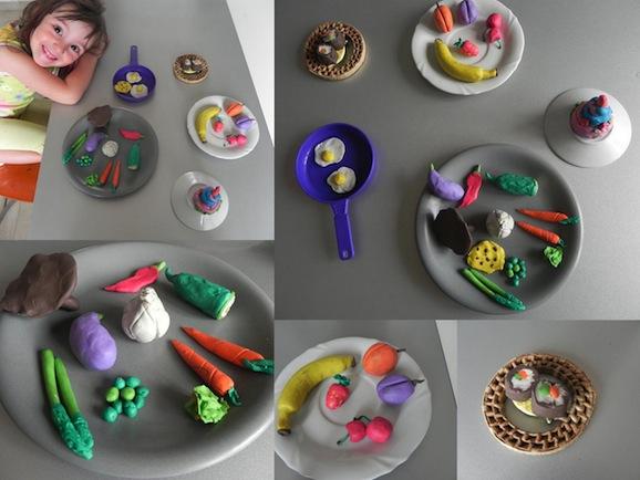 Cibi gioco: sushi, secondo, contorni, frutta e dolce..... di plastilina!