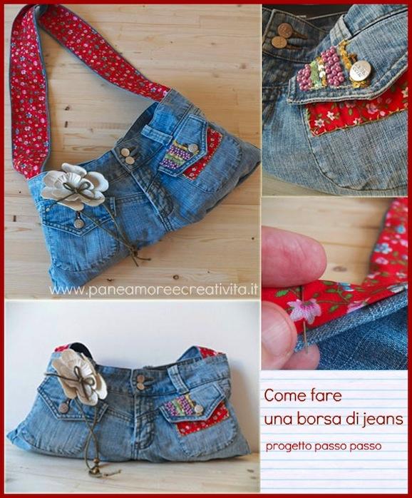 Eccezionale Come fare una borsa con un paio di jeans | Pane, Amore e Creatività FK83