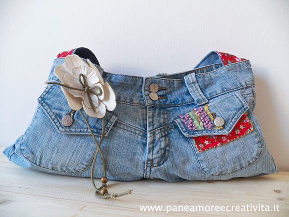 Come fare una borsa con un paio di jeans for Borse fai da te jeans