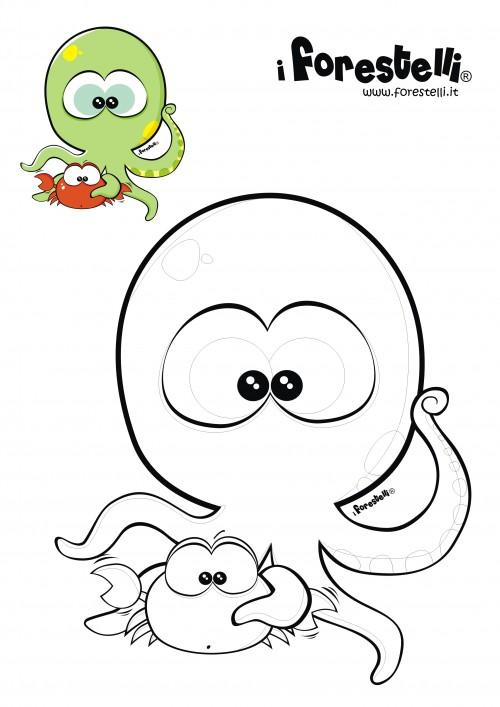 Disegni da colorare il polipo e il granchio for Pimpa da stampare e colorare