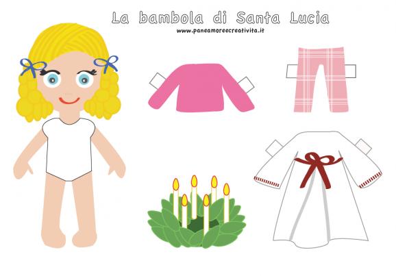 Eccezionale Calendario dell'avvento giorno 13: Santa Lucia paper doll da  GF43