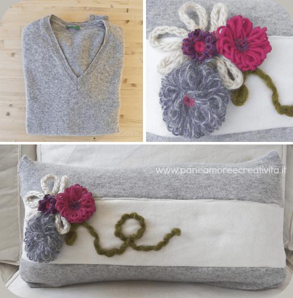 Tutorial di cucito: il maglione riciclato diventa un cuscino - Pane, Amore e ...