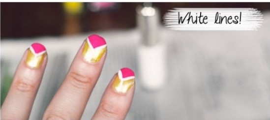 Pink And Yellow Triangle Nails Art Tutorial