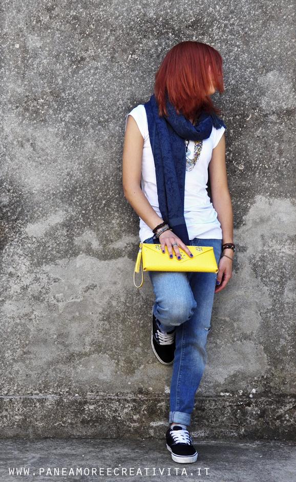 borsa pochette - cemento
