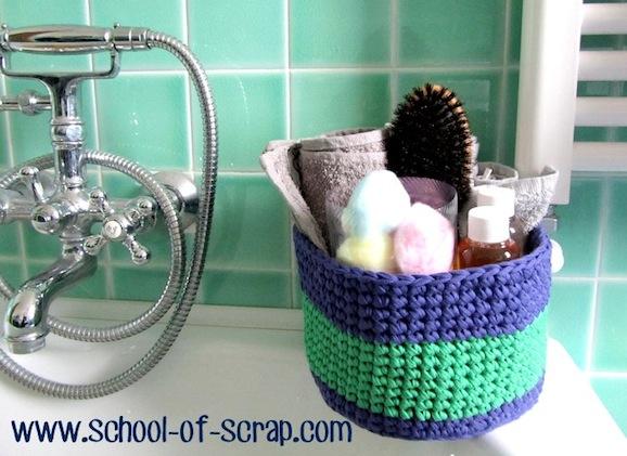 cestino per il bagno a uncinetto