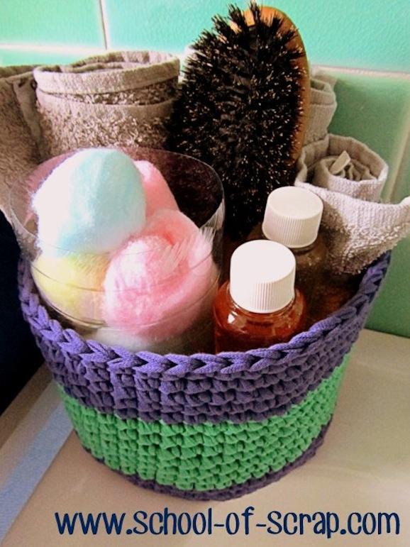 Come fare un cestino per il bagno ad uncinetto pane amore e creativit - Come fare bombe da bagno ...