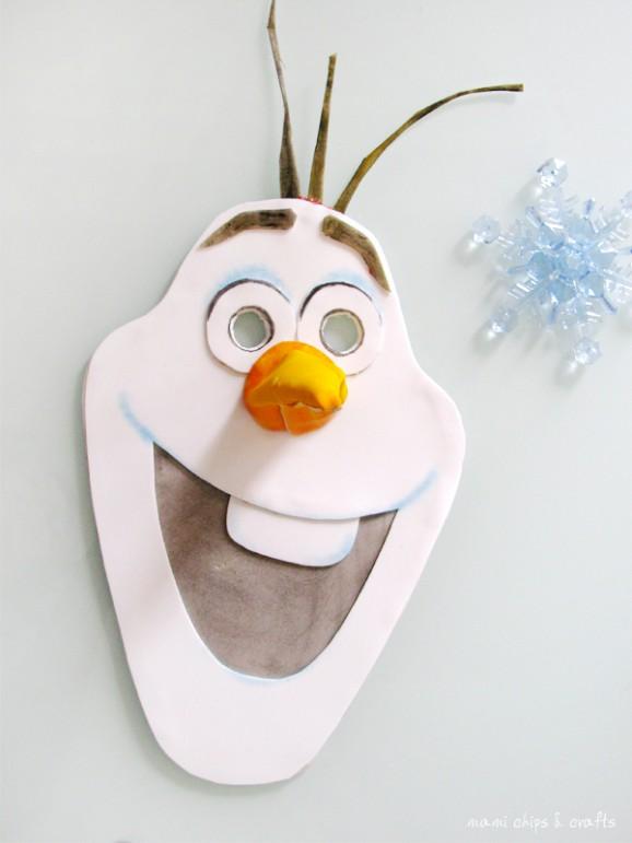 Come fare la maschera di olaf il pupazzo di neve di - Immagini da colorare la neve ...