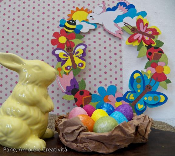 Lavoretti di pasqua le uova colorate con i sabbiarelli - Decorazioni uova pasquali per bambini ...