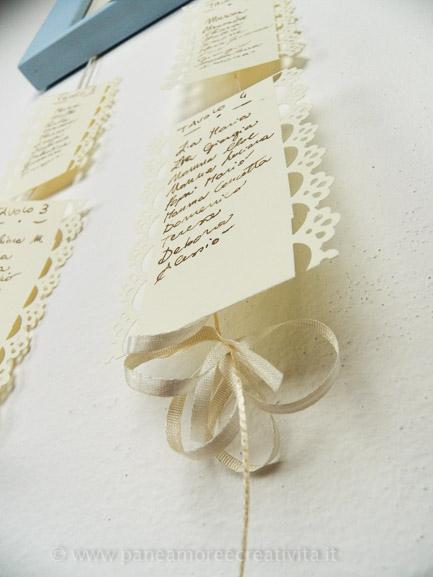 cartoncini con nomi invitati matrimonio