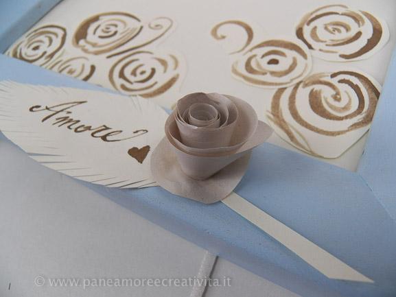 Tableau Matrimonio Azzurro : Tableau per matrimonio con rose di carta vintage e pizzi