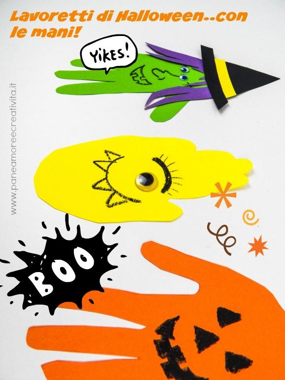 lavoretti di halloween - con le mani dei bambini