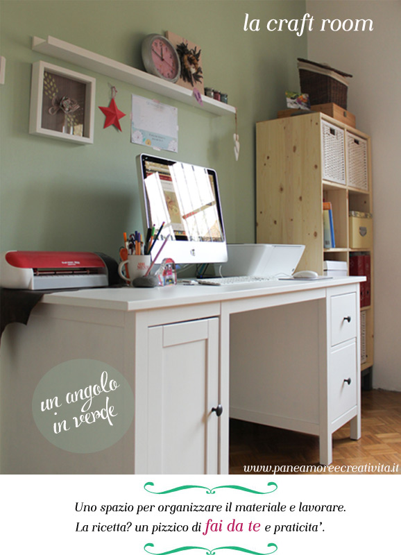 La mia craft room in verde e rosa pane amore e creativit for Fare la mia planimetria