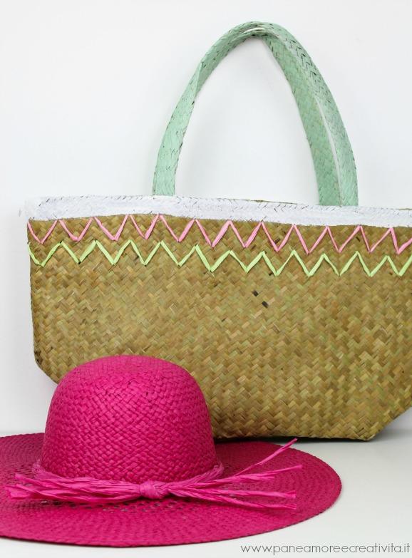 borsa di paglia decorata nipprig