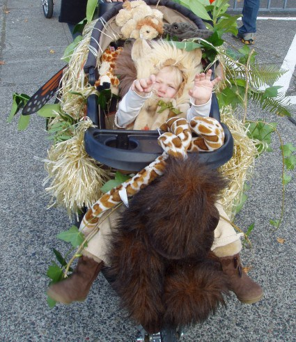 costumi bambini in passeggino-giungla