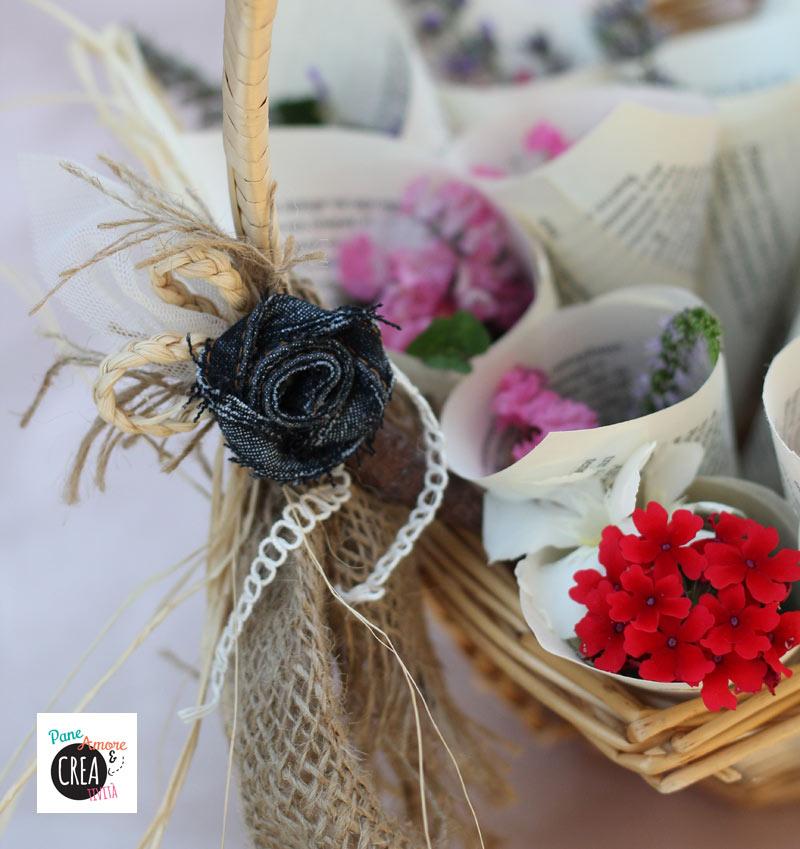 Matrimonio fai da te niente riso ma coni di fiori - Cesto porta coni di riso ...