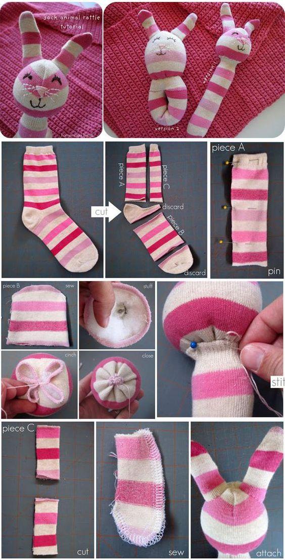come riciclare le calze-gioco per neonati