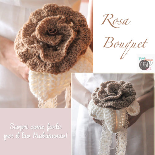 Tutorial matrimonio: maxi rosa bouquet da fare all'uncinetto