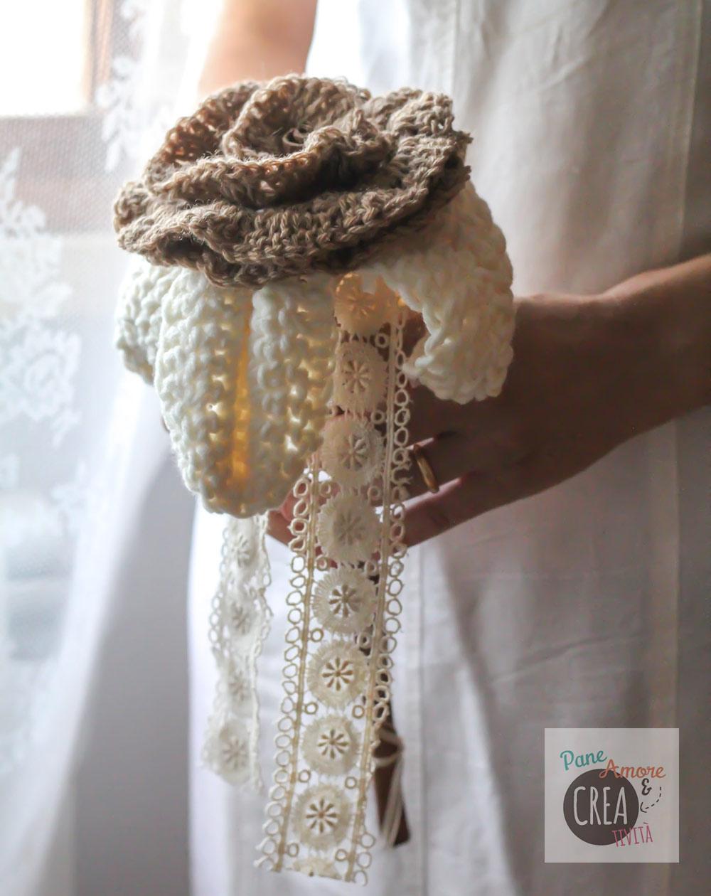 Bouquet Sposa Uncinetto Tutorial.Tutorial Matrimonio Maxi Rosa Bouquet Da Fare All Uncinetto