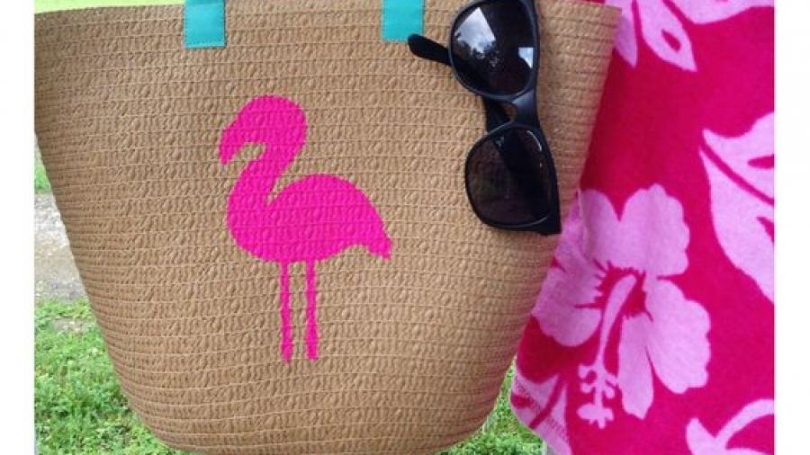 borsa di paglia - decoro con stencil