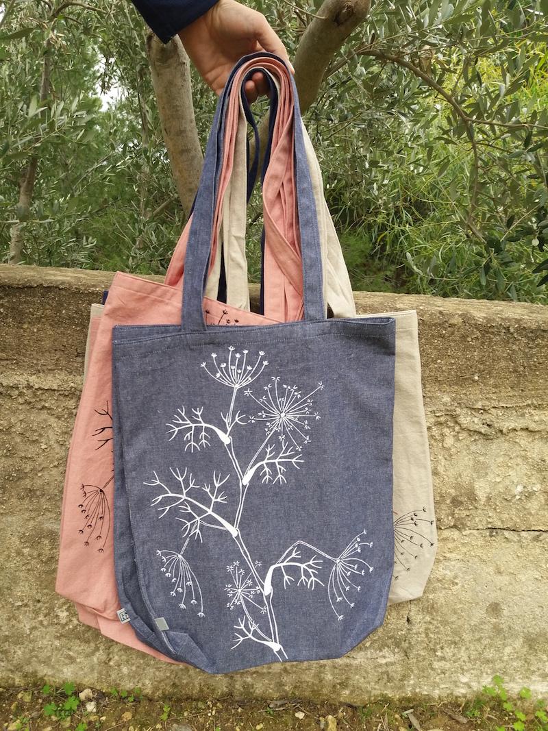 borse di stoffa fatta a mano - serigrafia