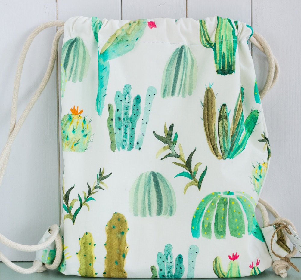 FabricUp zaino cucito a mano con i cactus